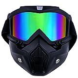 TedGem Maschera per snowboard sci moto motocross, snowboard, maschera motocross con filtro per bocca per l'aperto, scomponibile