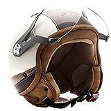SOXON SP-325-URBAN Creme · Vintage Chopper Motard Cruiser Scooter Retro Casco Demi-Jet Biker Mofa Vespa Urban Urbano Piloto Moto Bobber · ECE certificato · design in pelle · compresi visiera · compresi Sacchetto portacasco · Beige · L (59-60cm)