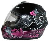Protectwear Casco moto nero viola per le donne, disegno fiori,...