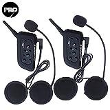 Excelvan - V6 PRO Cuffie Stereo e Microfono Interfono Bluetooth per Casco Moto, Compatibile con GPS, Cellulare e Musica, Supporta la comunicazione fra 6 motociclisti ad una distanza di 1200m, Impermeabile ( 2 pacchi )
