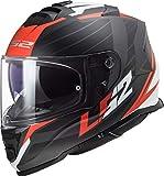 Casco moto LS2 FF800 STORM NERVE MATT BLACK RED, Nero/Rosso/Bianco, L