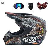 Casco da Motocross per Fuori-Strada - 4PCS Set di caschi da Corsa da Strada...
