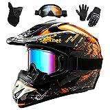 WEITY Casco da Motocross Set con Occhiali Guanti Face Mask, per bambini e...