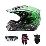 Casco da Motocross Bambini Quad Bike ATV Go-kart Casco Integrale da Corsa...