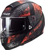LS2 Casco moto FF397 VECTOR FT2 SWIPE MATT BLACK RED, Nero/Rosso, M