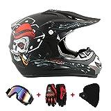 Casco da moto, motocross, cross, offroad, enduro, sport, con guanti,...
