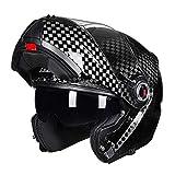 Casco Integrale per Motocicletta, Caschi Ribaltabili Elettrico in Fibra di...