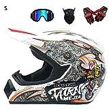 Joopark Casco da Motocross Fuoristrada per Uomo con Design Stampato Moto da...