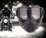 YIQI Maschera per Occhiali da Moto con Maschera Rimovibile, Occhiali...