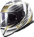 Casco moto LS2 FF800 STORM NERVE WHITE ANTIQUE GOLD, Bianco/Nero/Oro, XL