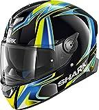 Shark Skwal 2 HE4908EKBYL Casco moto, Nero/Blu/Giallo, L