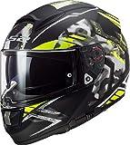 Casco moto LS2 FF397 VECTOR FT2 STENCIL BLACK H-V YELLOW, Nero/Giallo, L