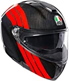 AGV CASCO SPORTMODULAR E05 MULTI MPLK STRIPES CARBON/RED M