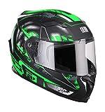 CGM casco integrale 307G VALENCIA JEREZ, Nero Verde fluo opaco, M (57-58cm)