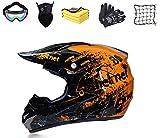Casco da motocross, con guanti, occhiali di protezione, maschera di...