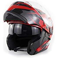 casco modulare bluetooth rosso