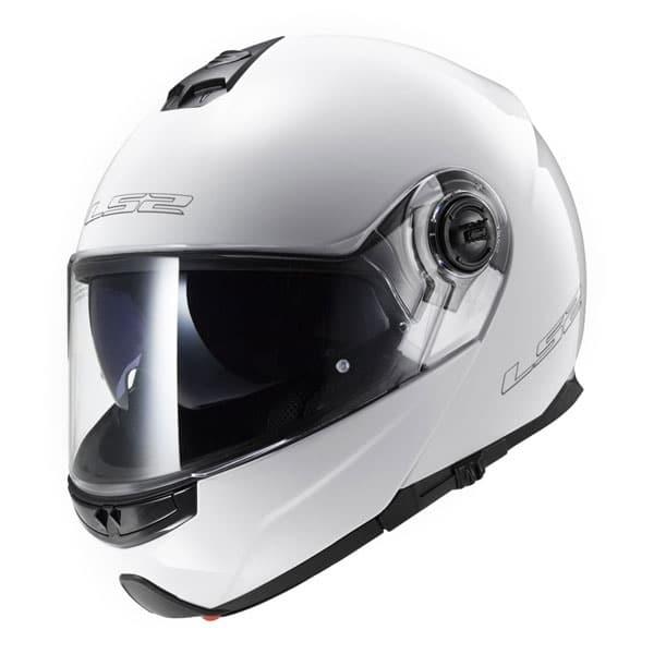 casco modulare ls2 ff325 strobe solid bianco gloss