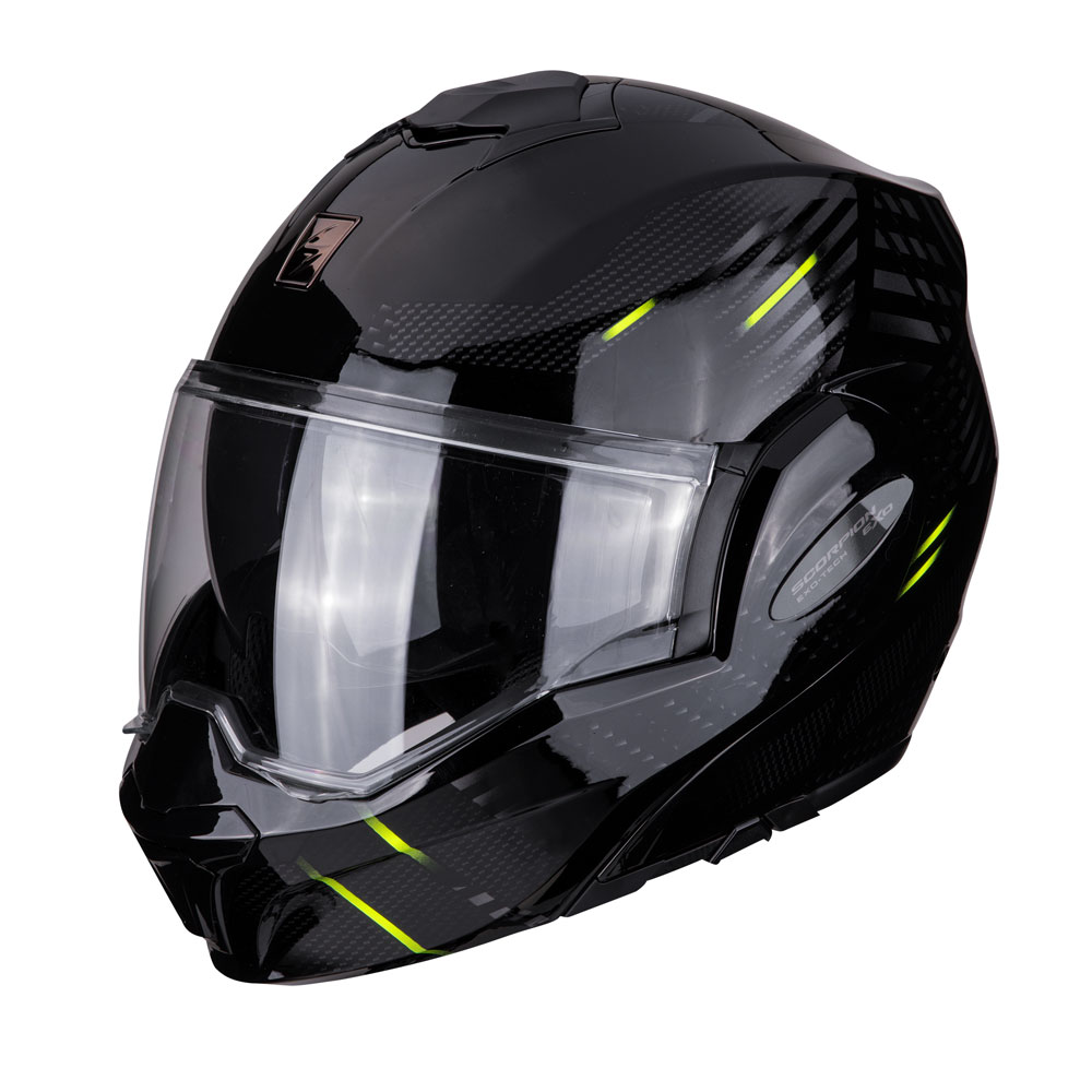 casco modulare scorpion exo tech pulse nero giallo