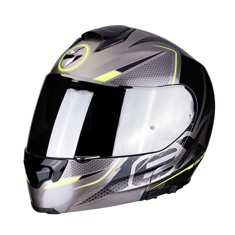 casco scorpion exo-3000 air grigio e giallo fluo
