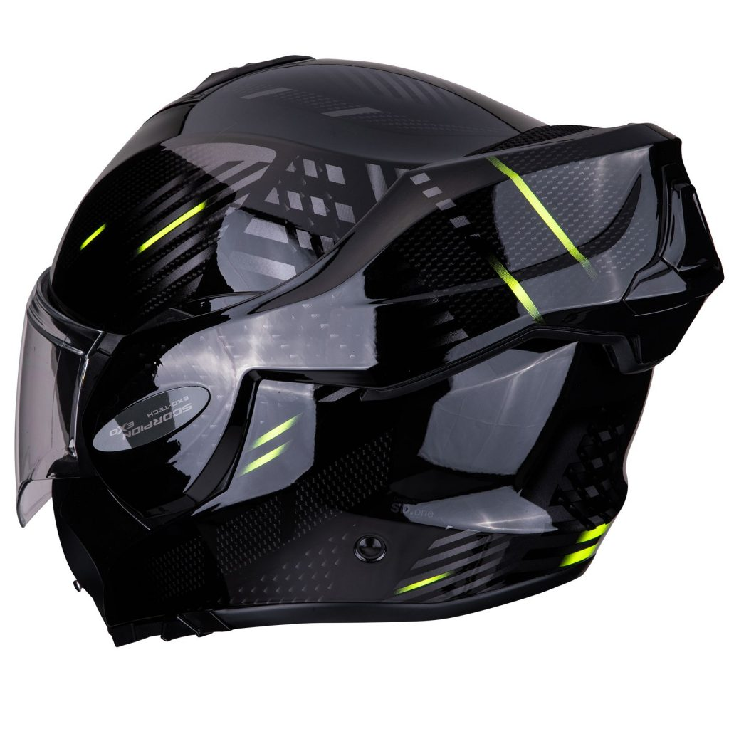 casco scorpion exo-tech pulse nero giallo retro