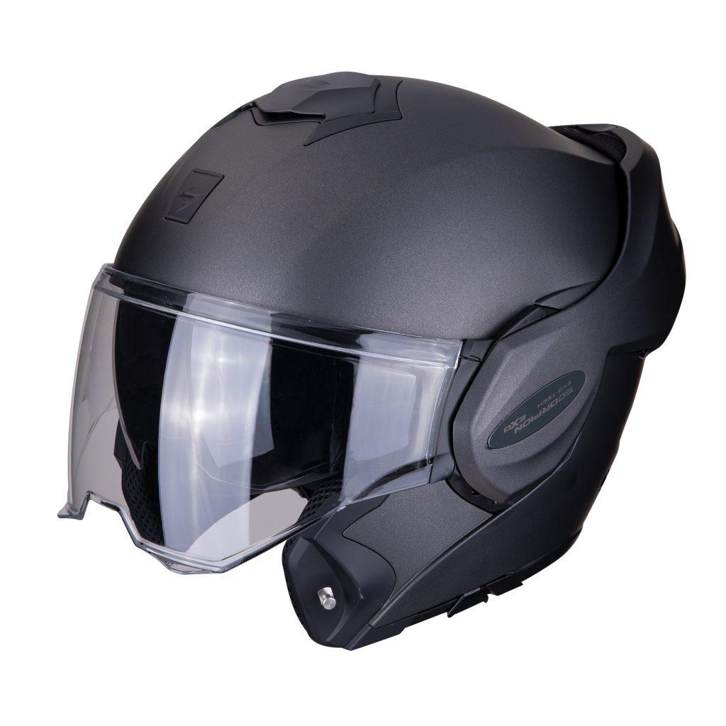 casco scorpion exo tech uni nero opaco con mentoniera ribaltabile