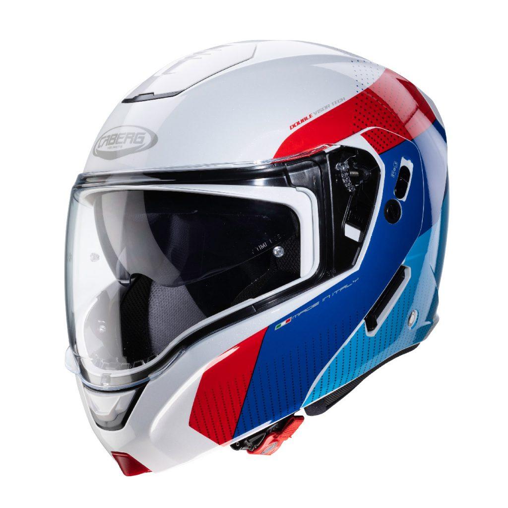 casco caberg horus blu bianco rosso