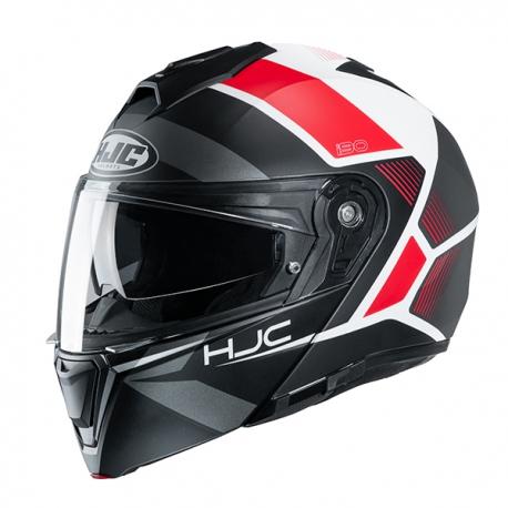 casco hjc i90 nero bianco e rosso