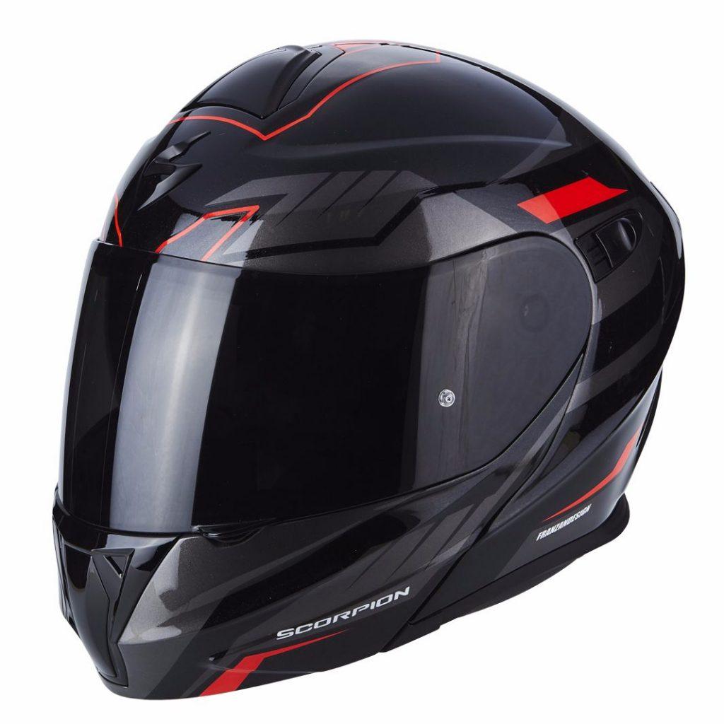 casco scorpion exo-920 shuttle nero e rosso