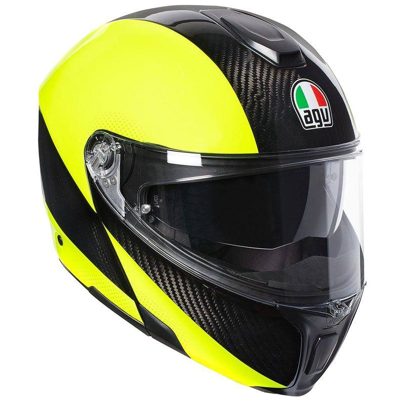casco agv sportmodular nero giallo fluo