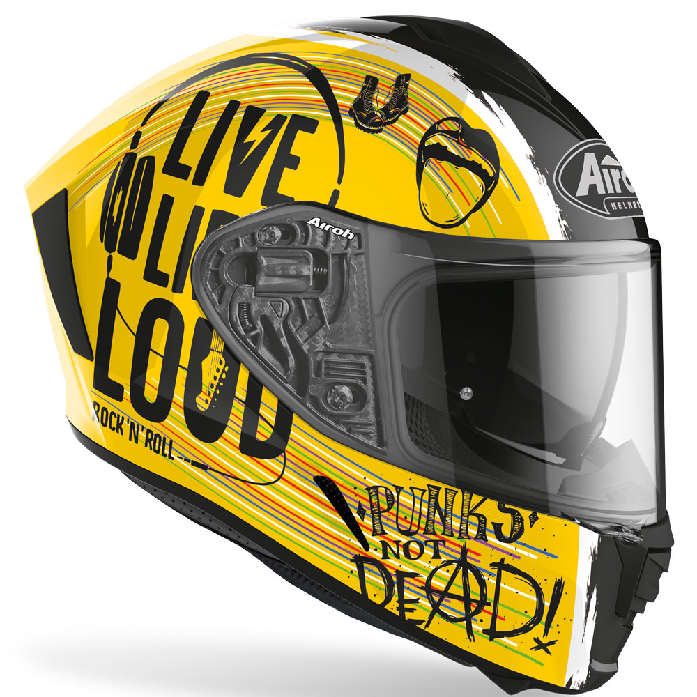 casco airoh spark edizione limitata rock n roll giallo nero