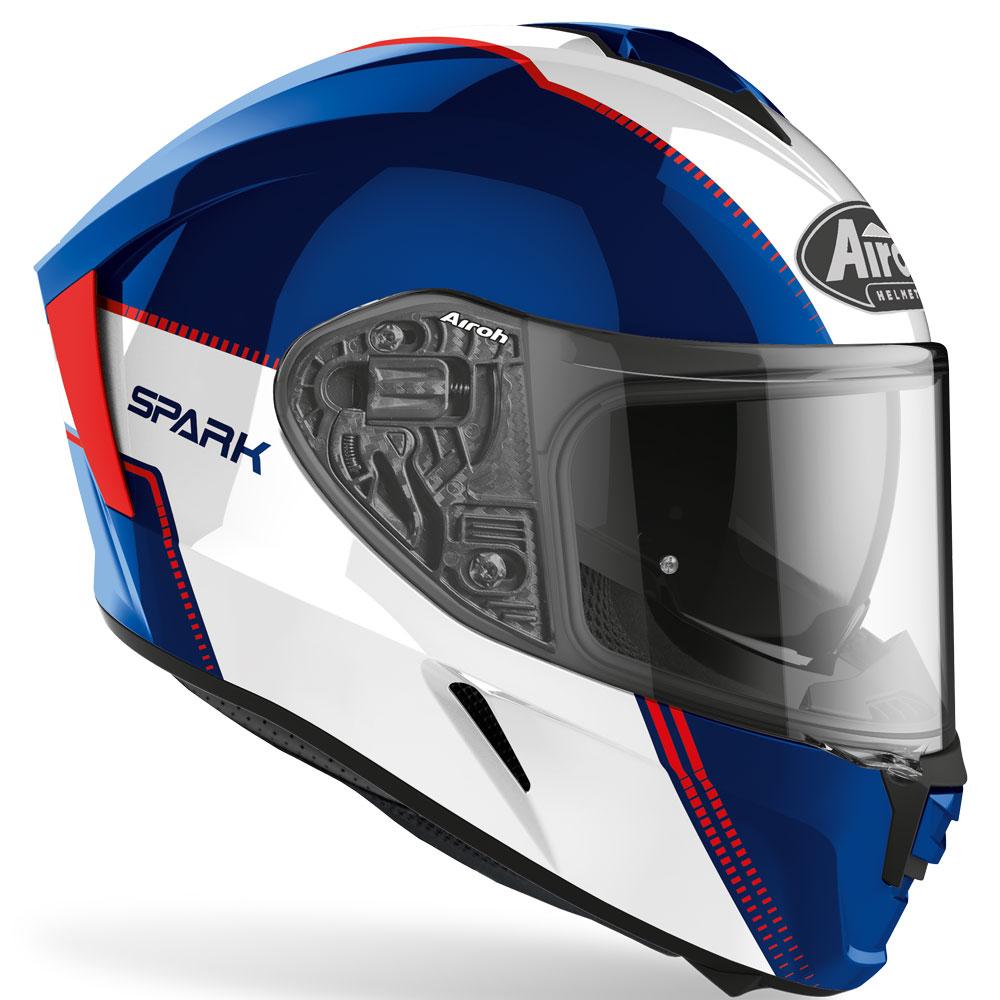casco airoh spark flow blu rosso bianco lucido