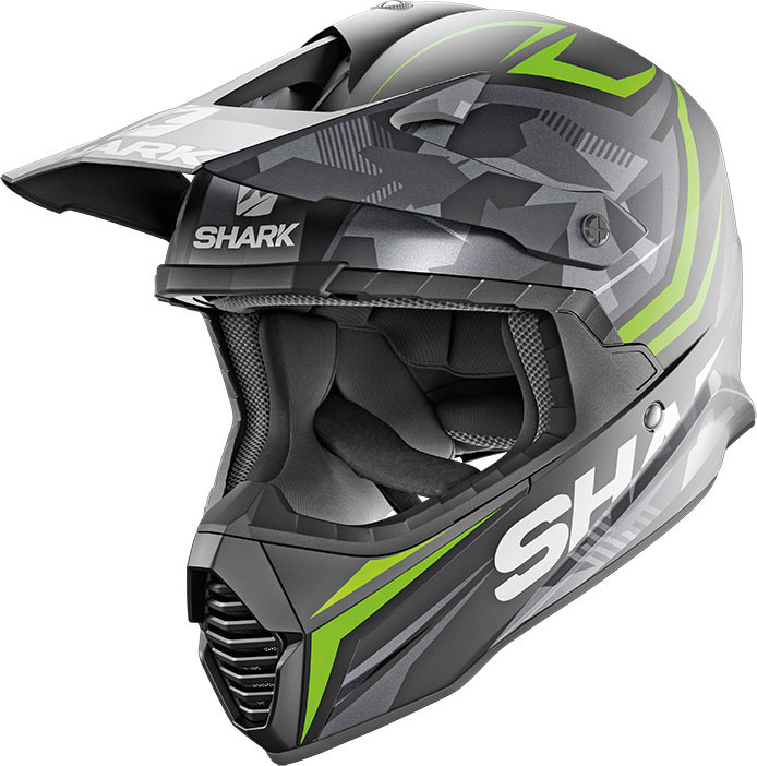 casco da cross shark varial tixier in fibra nero verde opaco