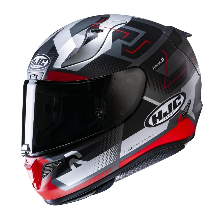 casco integrale hjc rpha 11 nero grigio rosso fibra