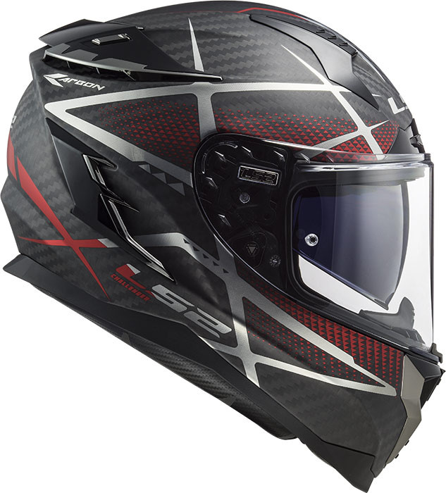 casco integrale ls2 ff327 challenger ct2 konic cabon rosso opaco