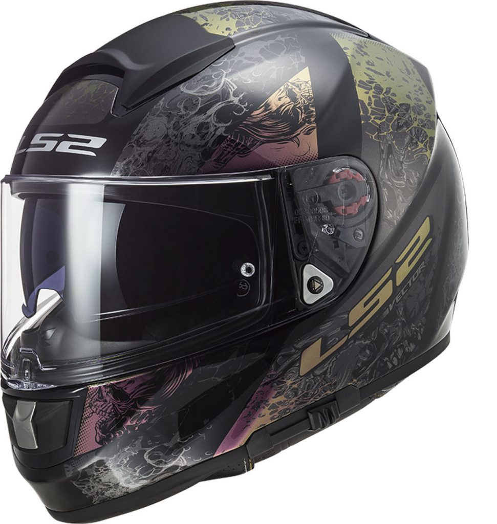 casco integrale ls2 ff397 vector swipe rainbow arcobaleno nero in fibra