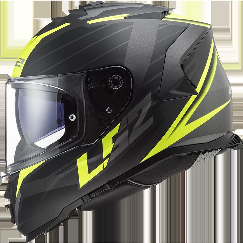 casco integrale per moto ls2 ff800 storm nerve nero opaco giallo fluo