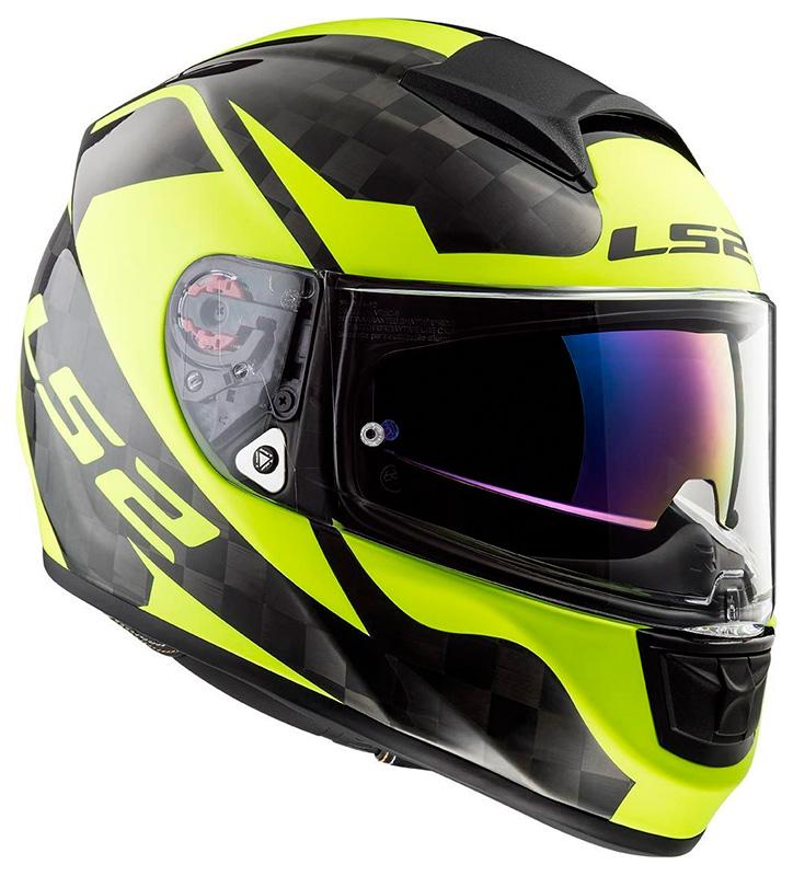 casco ls2 ff397 vector ct2 carbonio nero giallo fluo