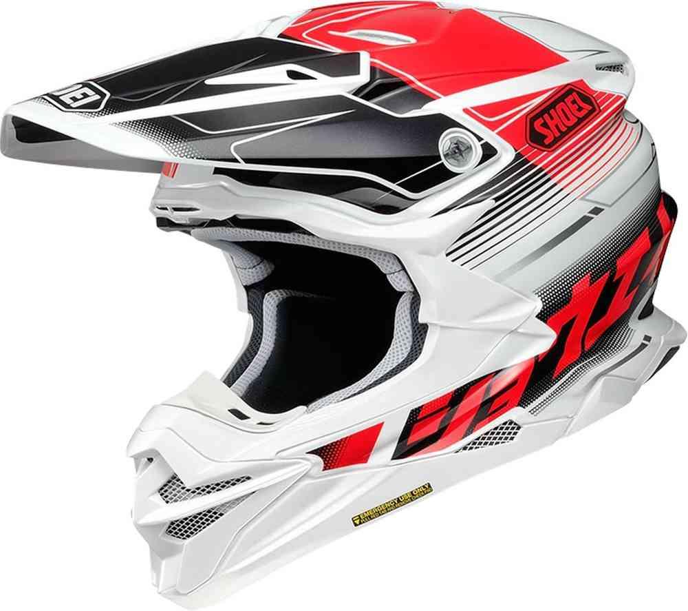 casco integrale per motocross shoei vfx-wr zinger bianco rosso nero