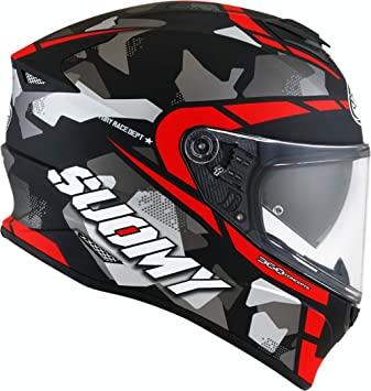 casco suomy stellar race squad nero rosso