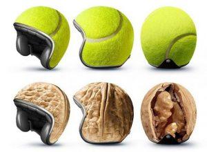 casco personalizzato con noce e tennis